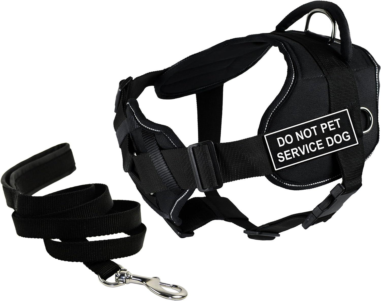 """Dean & Tyler'S Dt Spaß Chest Support """"tun Not Pet Service Dog"""" Harness mit Reflective Trim, Medium, und 6 Ft Padded Puppy Leash."""