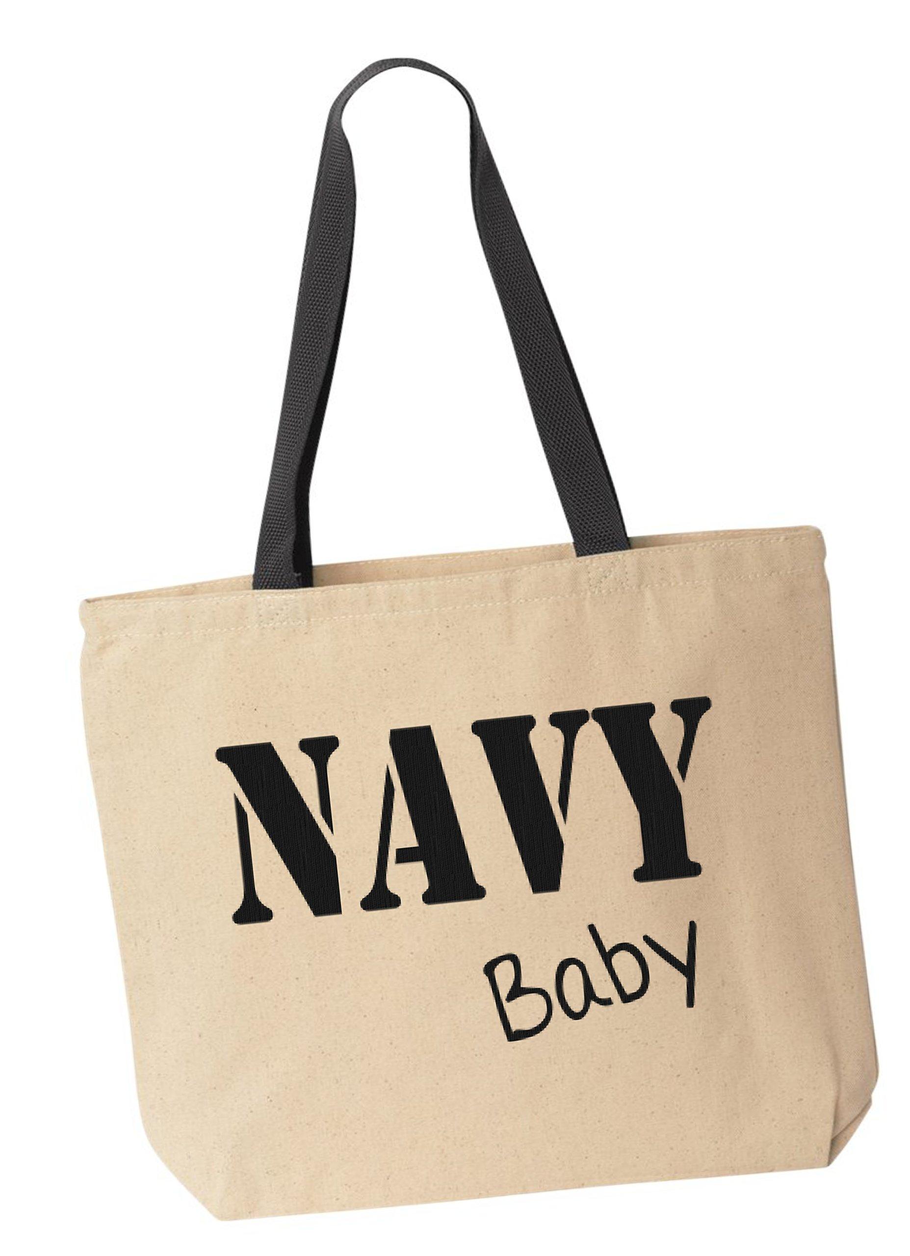 BeeGeeTees NAVY Baby Reusabe Tote Bag Black Handle