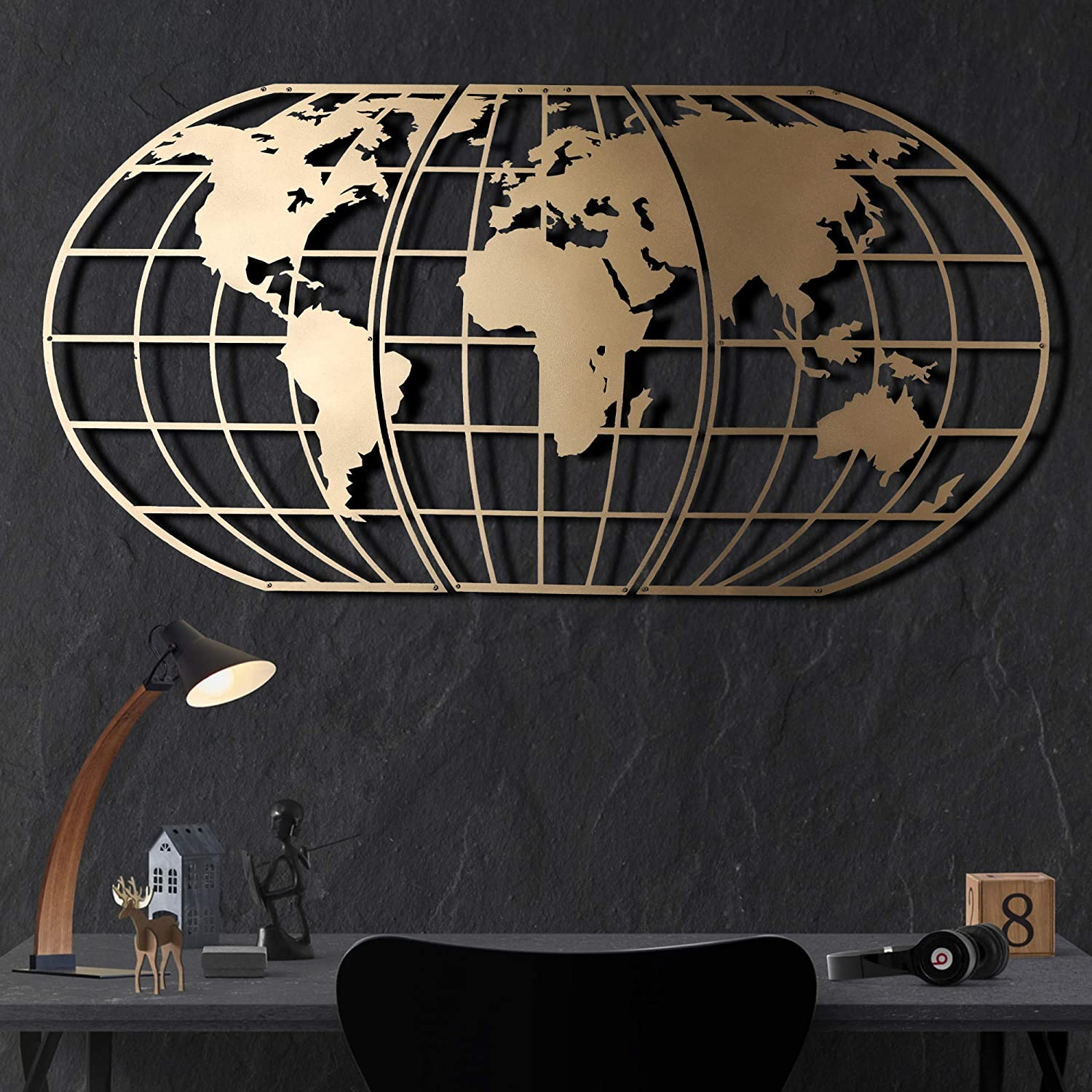 Tubibu Modern Wall Art, 100% Metal - Metalic WORLD MAP GLOBE , Size (23.6
