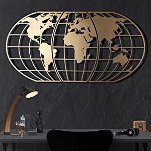 Tubibu Modern Wall Art, 100% Metal - Metalic WORLD MAP GLOBE , Size (23.6