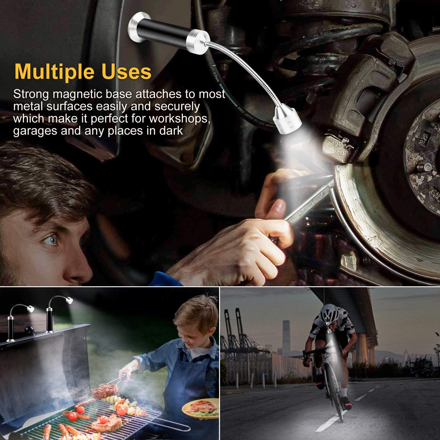 flexible BBQ lamp outdoor lamps for outdoors and battery operated Pack of 2 Migimi 360/° adjustable magnetic LED BBQ light set with barbecue accessories