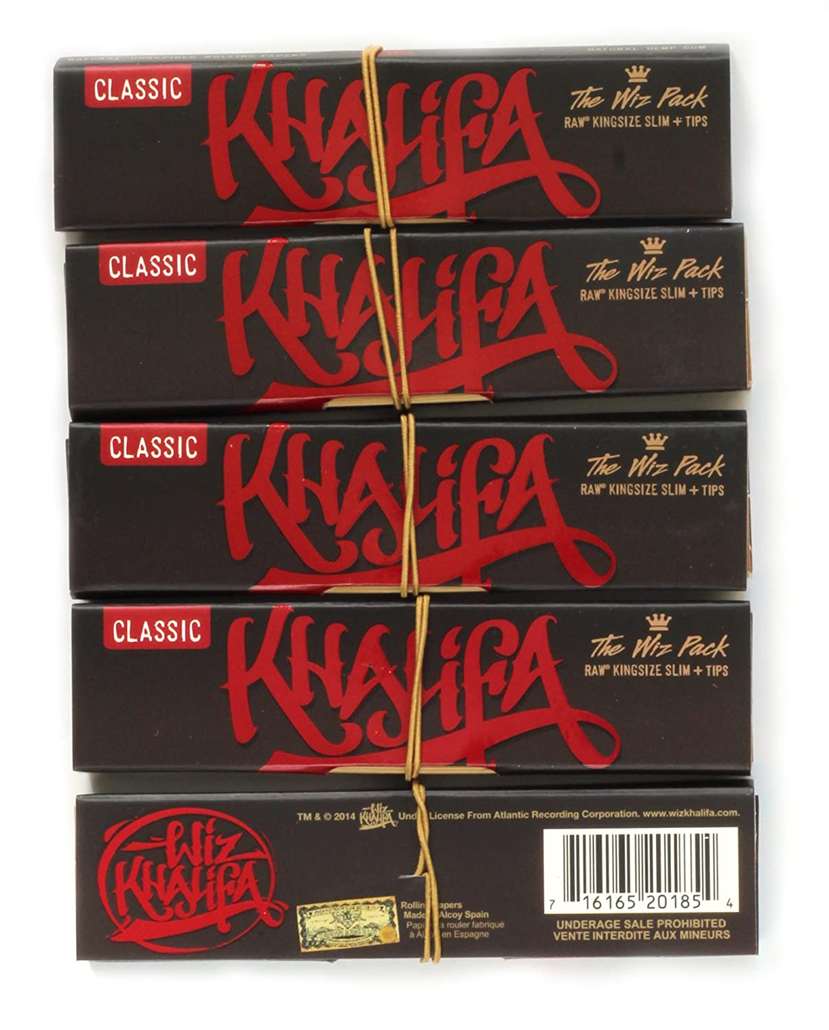 Wiz Khalifa Raw Connoisseur King Size Slim Rolling Papers With Tips 5 Packs by Raw