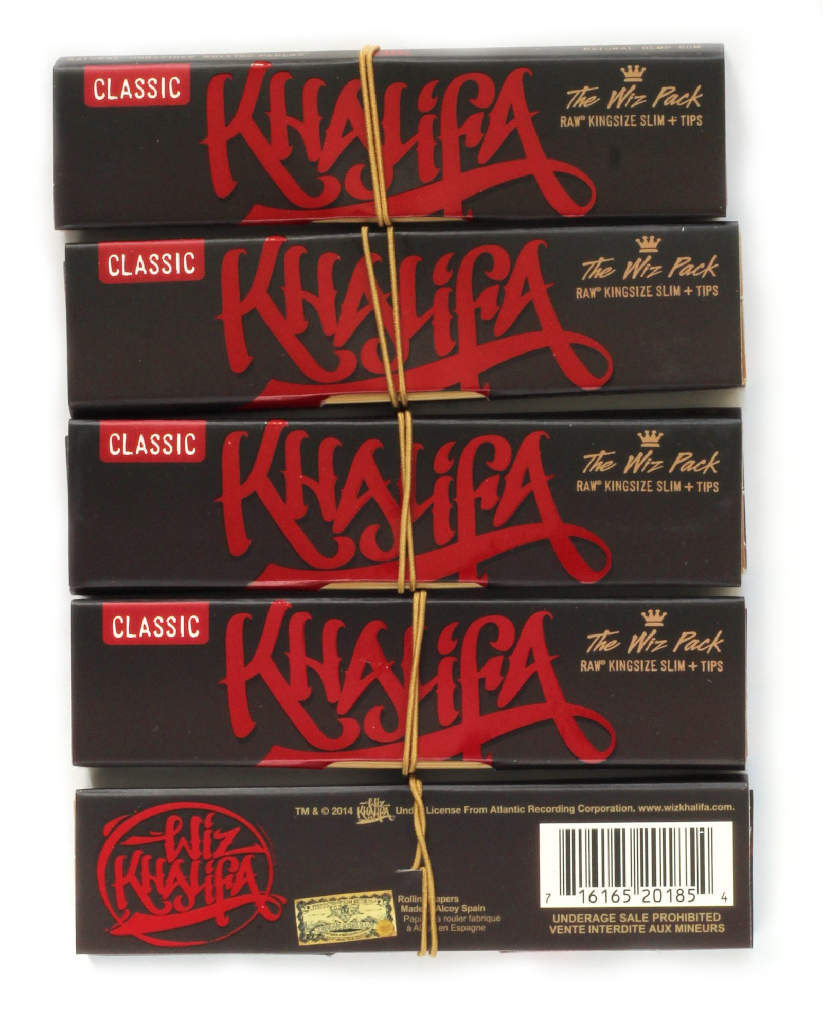 Wiz Khalifa Raw Connoisseur King Size Slim Rolling Papers With Tips 5 Packs