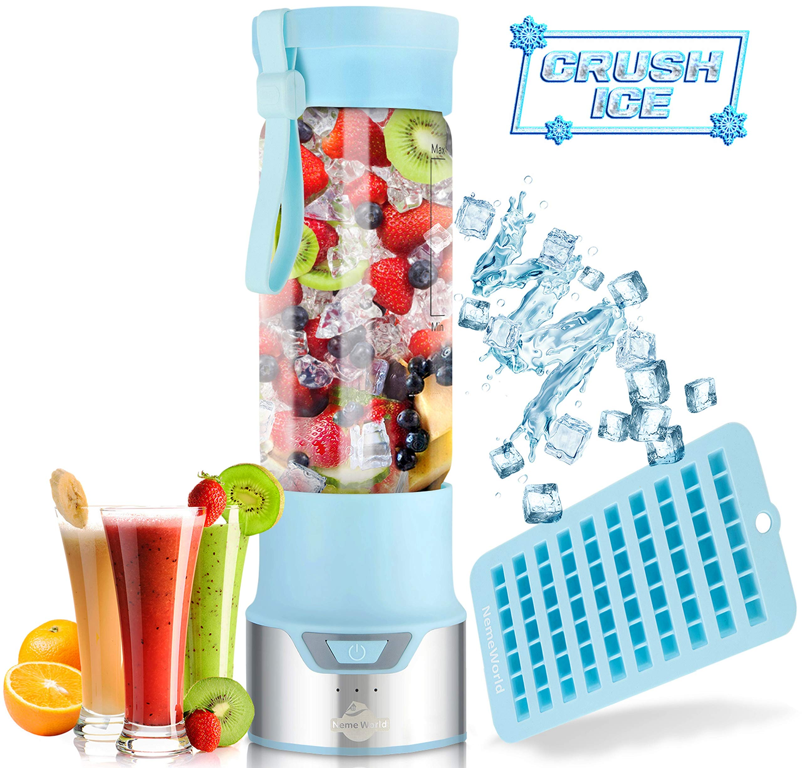 ICER Portable Blender for Shakes and Smoothies - Blend Ice Easy with Powerful 12V Jet Motor - Personal, Single Serve Bottle - Fruit Juicer with 6000 mAh USB Rechargeable Battery - BPA Free 450ml Blue by NemeWorld