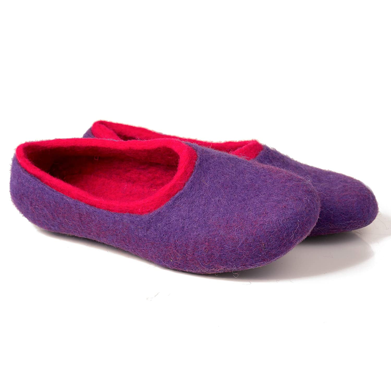 BureBure Natural Wool Womens Slippers Grey Purple Handmade in Europe