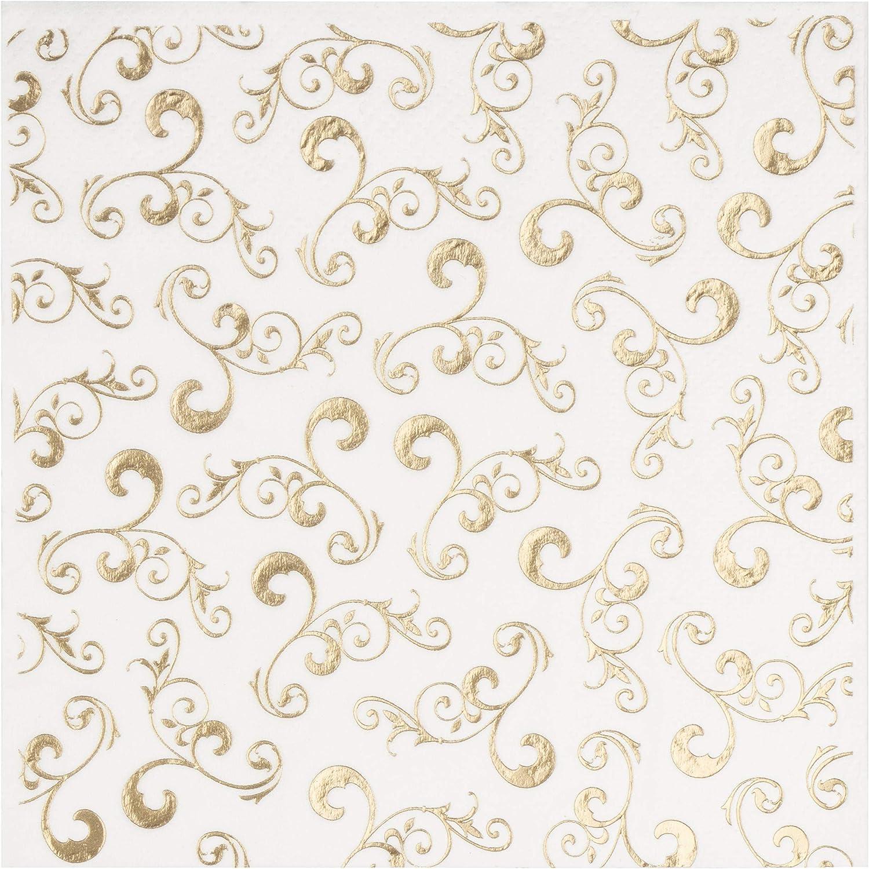 piegati 12,7 x 12,7 cm Tovaglioli da cocktail piegati 25,4 x 25,4 cm Confezione da 100 tovaglioli di carta usa e getta 3 veli 5 stampe assortite in lamina doro