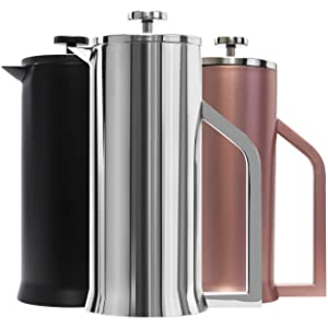 Lafeeca Stainless Steel French Press Coffee Maker - Double Wall Vacuum Insulated - 30 oz Polished Stainless Steel