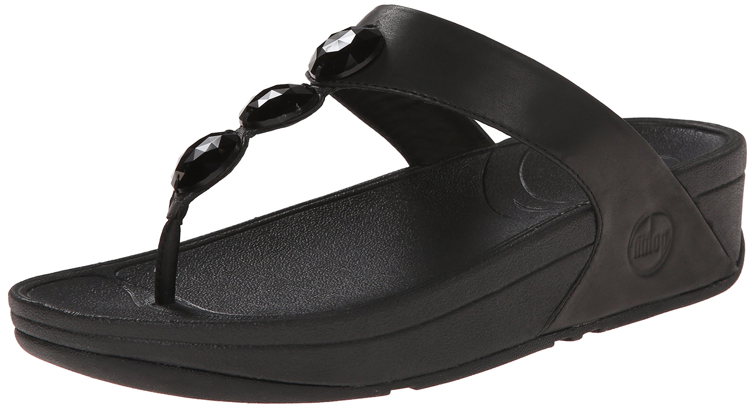 FitFlop Women's Petra Leather Flip Flop, All Black, 5 M US by FitFlop