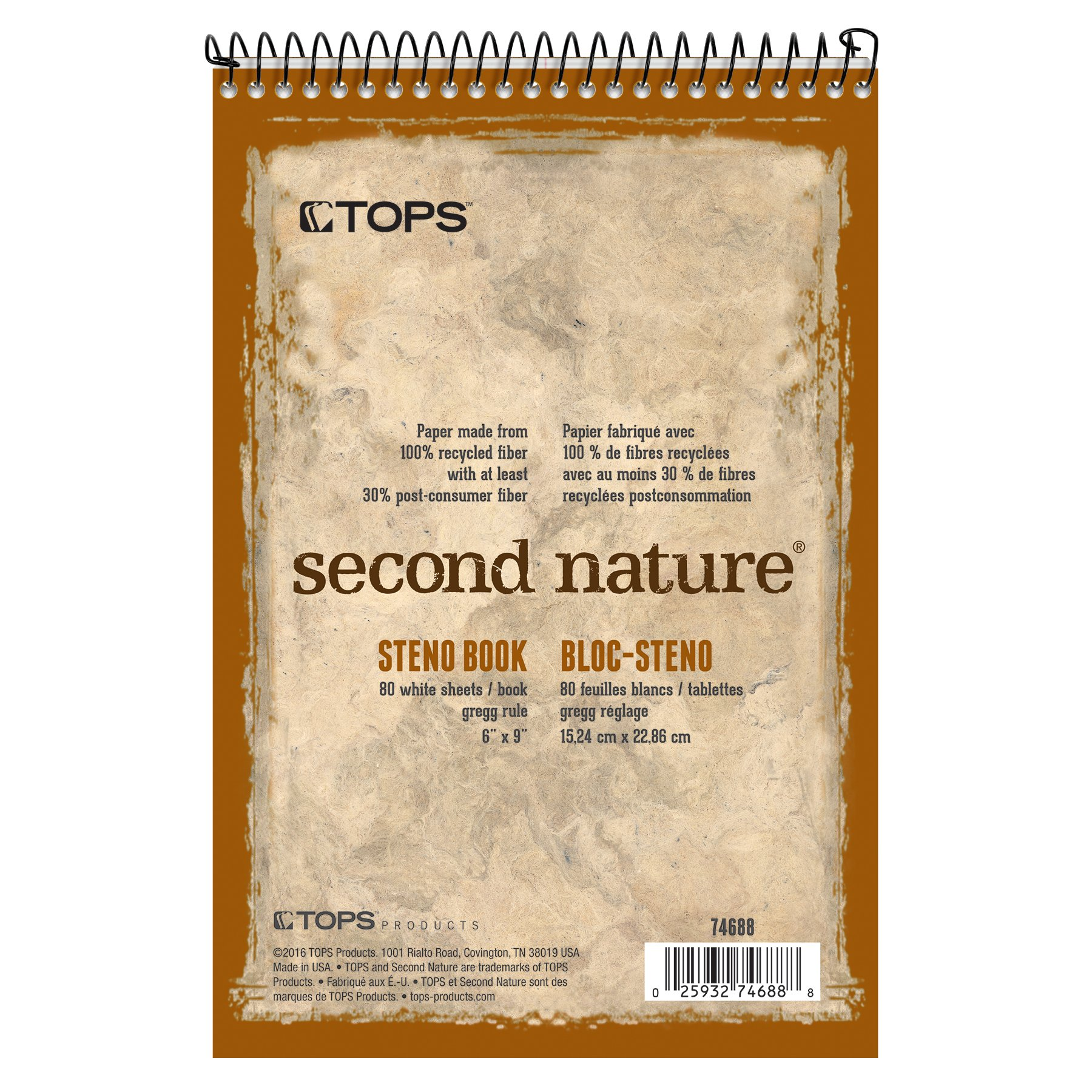 TOPS Second Nature Steno Books, 6'' x 9'', Gregg Rule, 80 Sheets, 12 Pack (74688) by TOPS