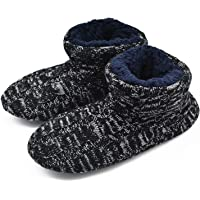 GPOS Knit Rock Wool Warm Men Indoor Pull on Cozy Memory Foam Slipper Boots Soft Rubber Sole