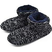 GPOS Knit Rock Wool Warm Men Indoor Pull on Cozy Memory Foam Slipper Boots Soft Rubber Sole Black Size: 14