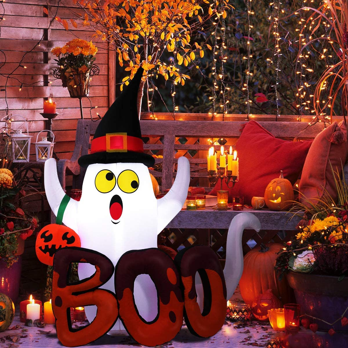Halloween Inflatable Ghost, Blow Up Ghost with Internal LED Lights for Indoor Outdoor Yard Lawn Art Halloween Decoration
