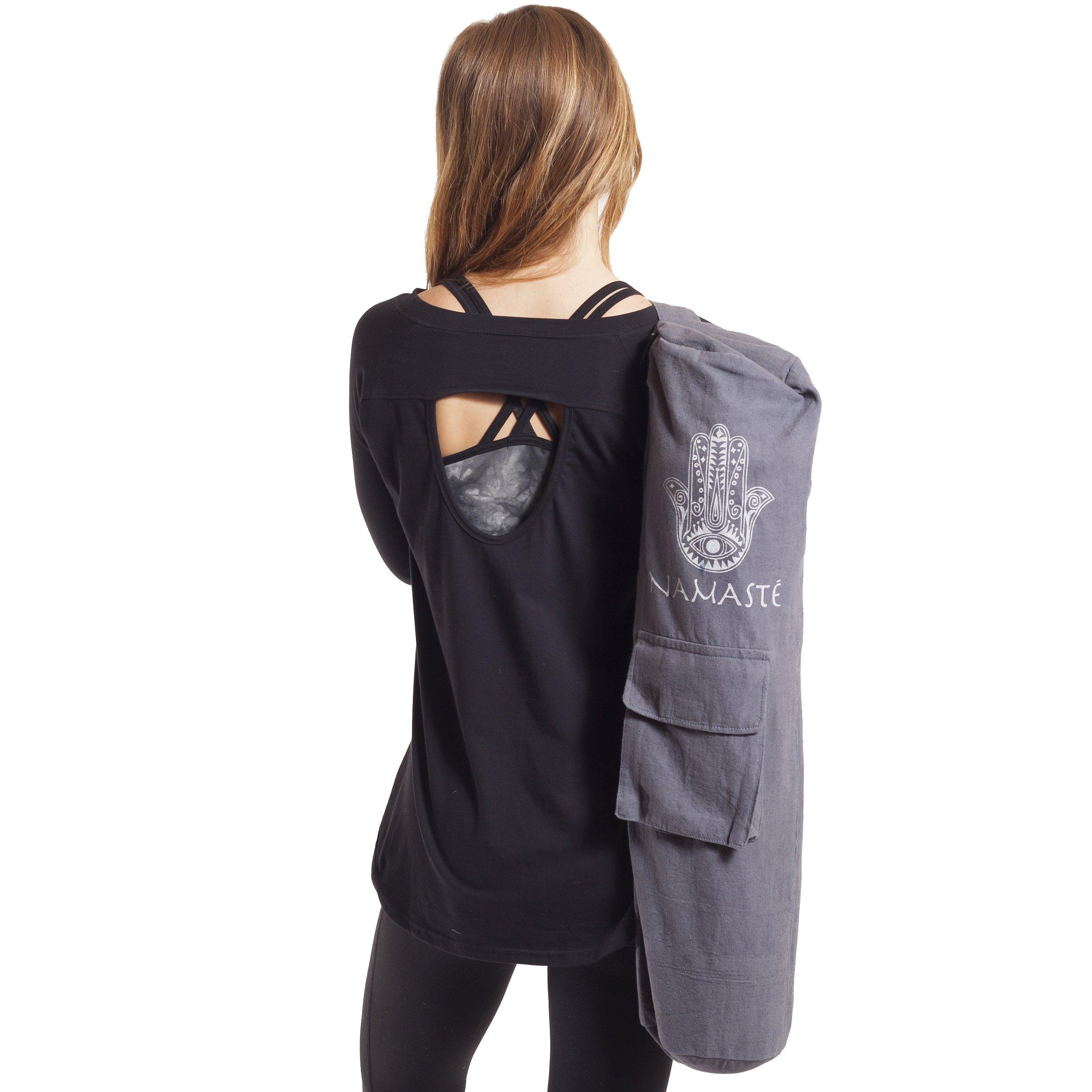 Hamsa Namaste Yoga Pilates Mat Bag-Grey-One Size