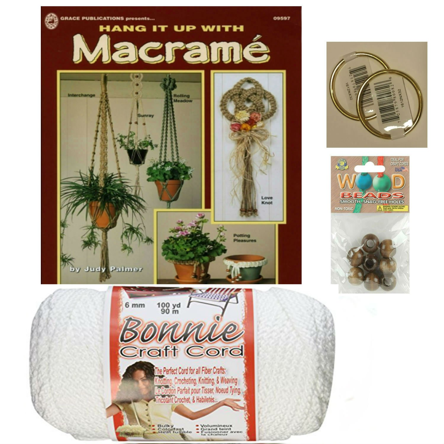 Macrame kit Bundle with Craft Cord, Wooden Beads, Rings, and Project Book for Plant Hangers and Wall hangings (White)