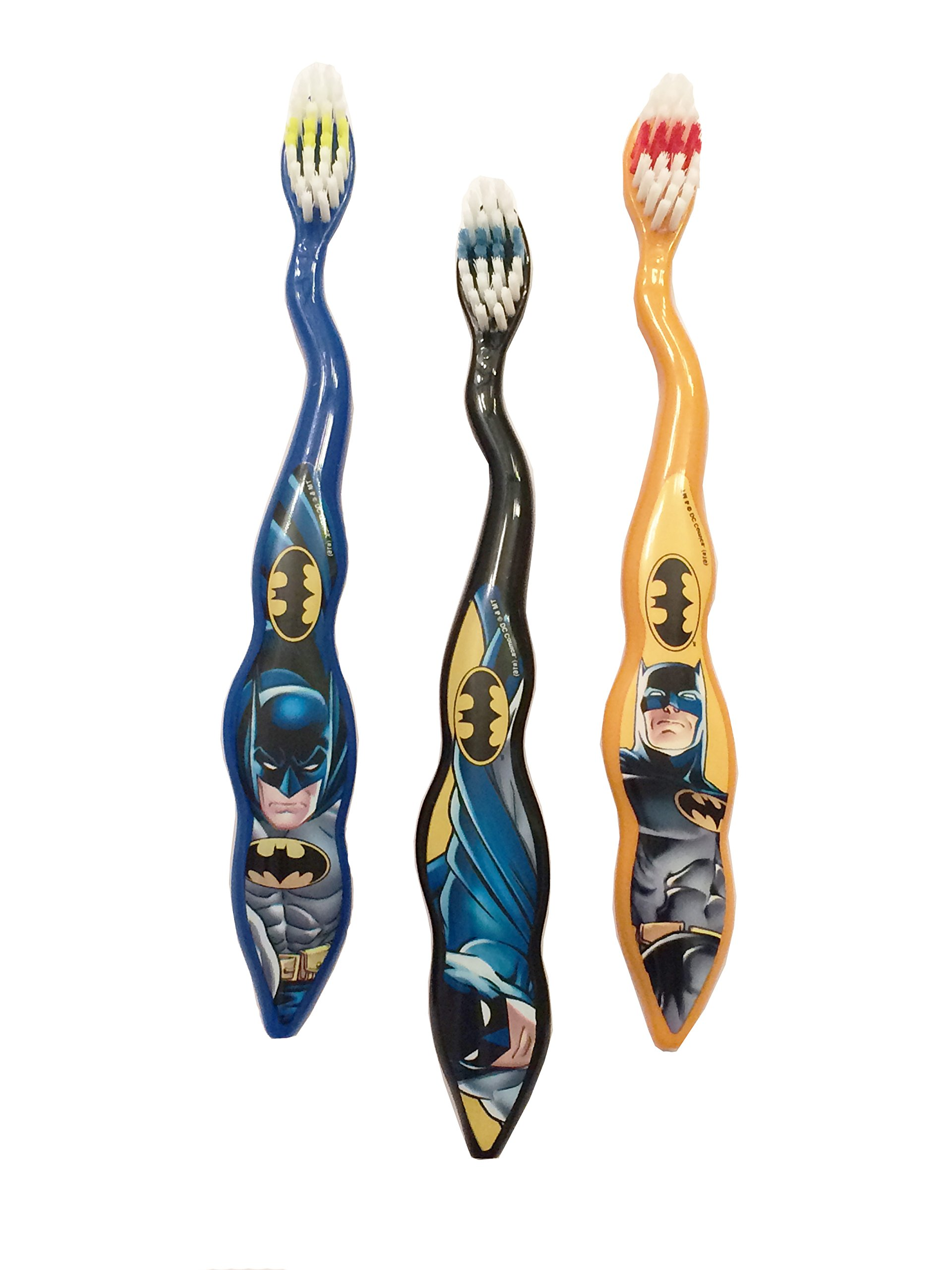 3-Pack of Kids Childrens Toddler Boys Blue Black Yellow Batman Soft Bristle Easy Grip