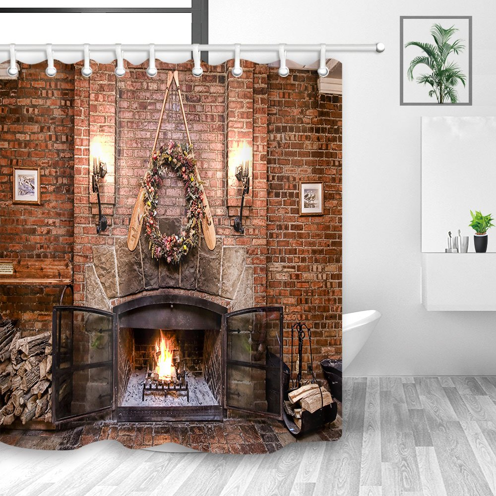 Y&M HOME Merry Christmas Shower Curtains Bathroom, Winter Season Burnning Fireplace Wood on Red Brick Wall Shower Curtain, Fabric Bathroom Fantastic Decorations, Bath Curtains Hooks Included, 70X70in