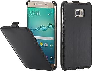 StilGut Slim Case, Housse, Coque, étui pour Samsung Galaxy S6 Edge+, Noir Vintage