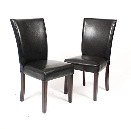 Roundhill Furniture Dark Brown Leatherette Parsons Chairs With Cherry  Finish Wood Legs, Set Of 2