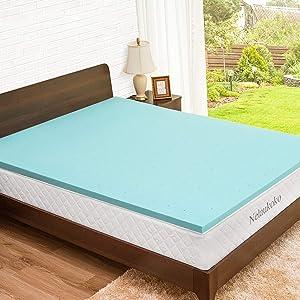 Nelaukoko Memory Foam Twin XL Topper 2 Inch Single XL Foam Mattress Topper Ventilated Gel Cooling Foam Mattress Pad Dorm XL Topper for College Dorm
