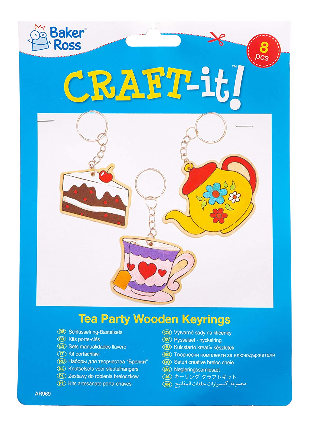 Amazon.com: Baker Ross Tea Party Wooden Keyrings (Pack of 8 ...