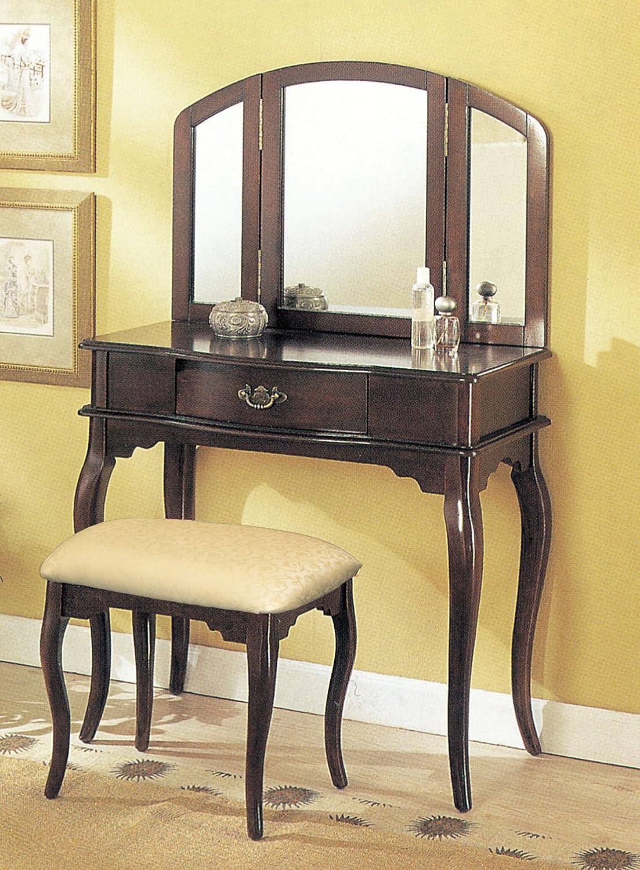 Amazon com  William  39 s Home Furnishing Cherry Tri mirror Vanity  Kitchen  amp  Dining