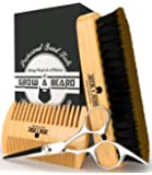 Beard Brush and Comb Set for Men - Friendly Gift Box And Cotton Bag - Best Bamboo Beard Kit for Home and Travel - Great for Dry or Wet Beards - Adds Shine and Softness - Stanley Steel Scissor Bonus.