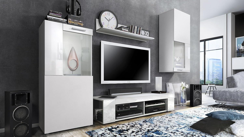Wohnwand Anbauwand Wohnzimmer-Set Möbel HUGO Lowboard Vitrine Wandregal Regal