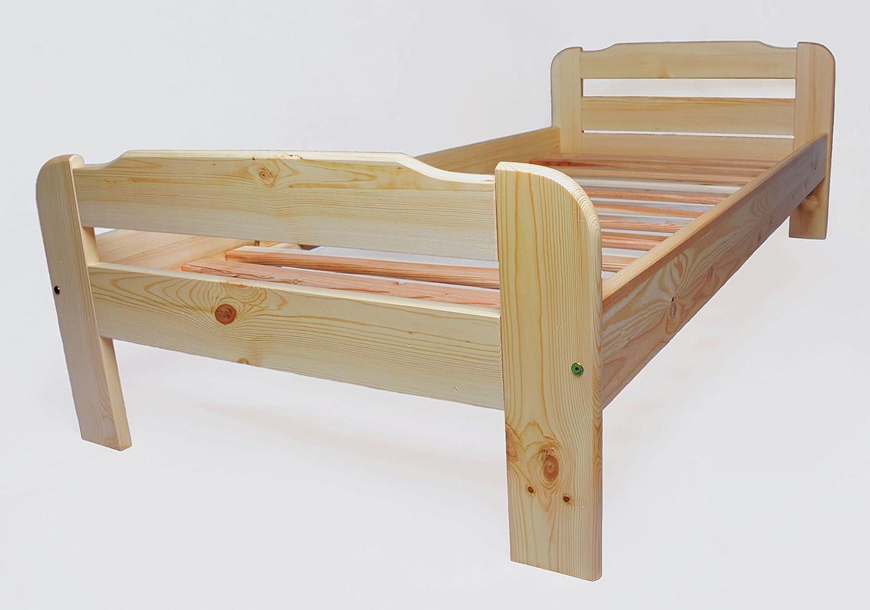 Einzelbett mit Lattenrost aus Kiefer massiv - 100x200 cm ✓ Leichter ...