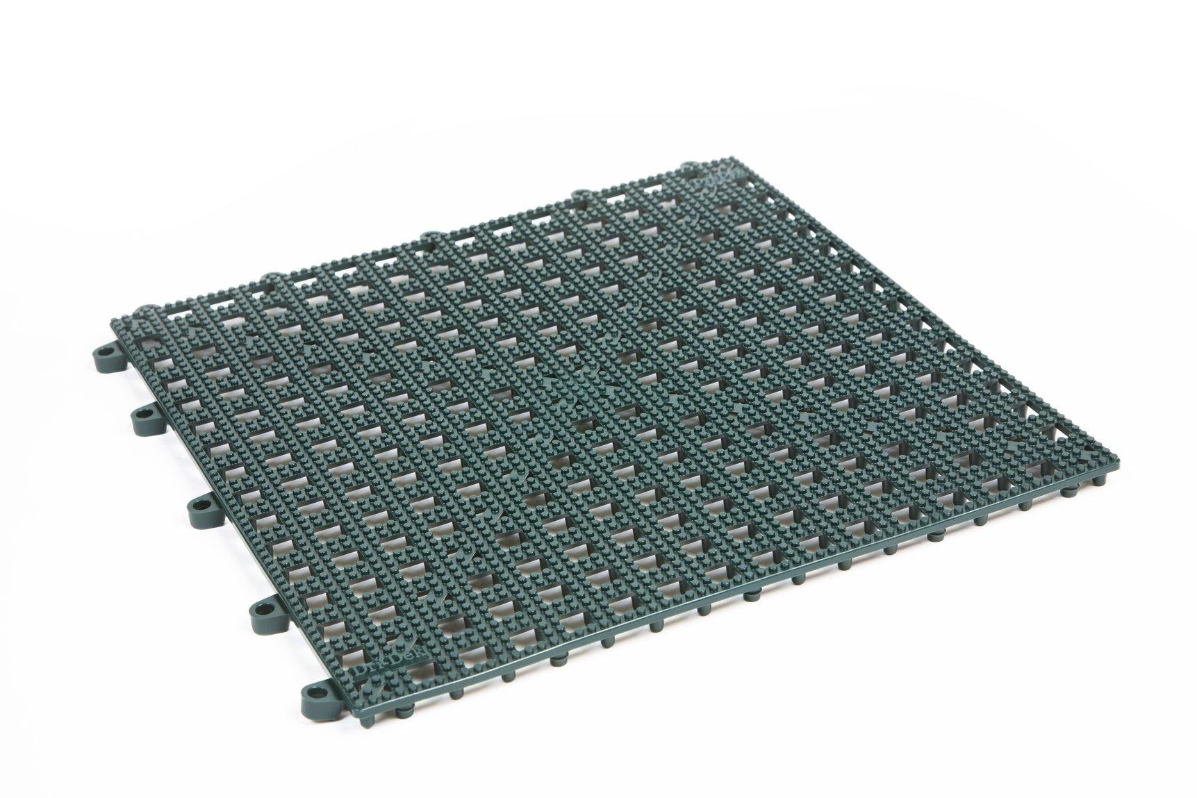 Dri-Dek Dog & Cat Kennel Cage Liner, Veterinarian or Groomer Flooring - 1'x1' Interlocking Tiles - 12-Pack (Hunter Green)