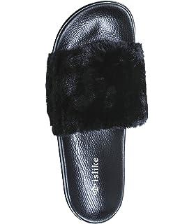 7afda1ce6fee NewYouDirect Fur Slides for Women