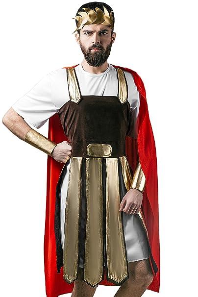 Adult Men Roman Halloween Costume Julius Caesar Gladiator Dress Up & Role Play (Medium/Large)
