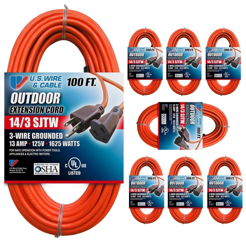 Wire /& Cable//Flexon US Wire 63100 14//3 100-Foot SJTW Orange Medium Duty Extension Cord U.S