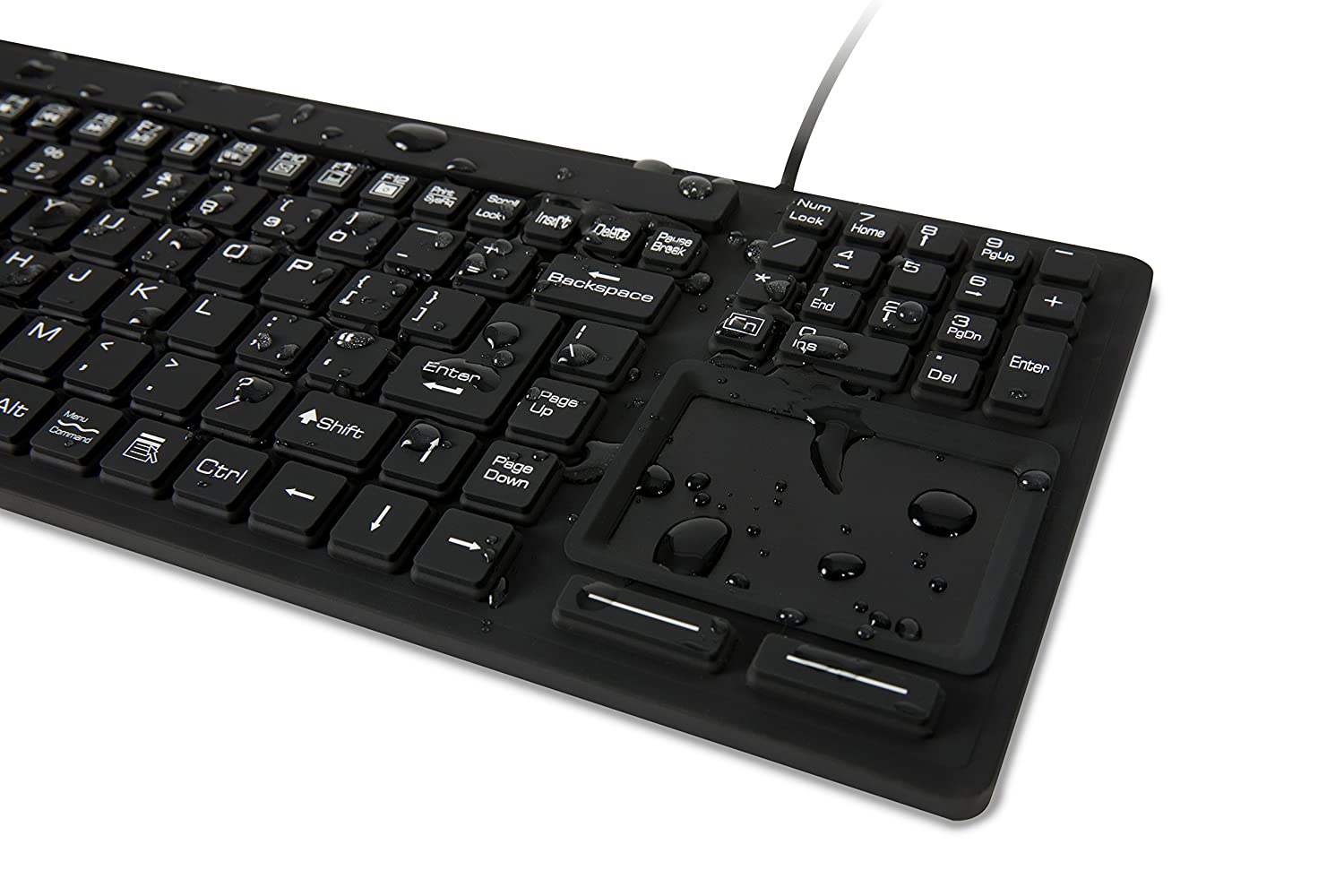 WetKeys Waterproof Touchpad Plus Professional-Grade Keyboard w/Touchpad (USB) (Black) | KBWKRC106T-BK
