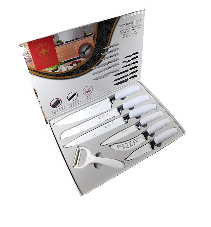 Egab Non Stick Coating Kitchen Knife Set, 7 Pieces,  White