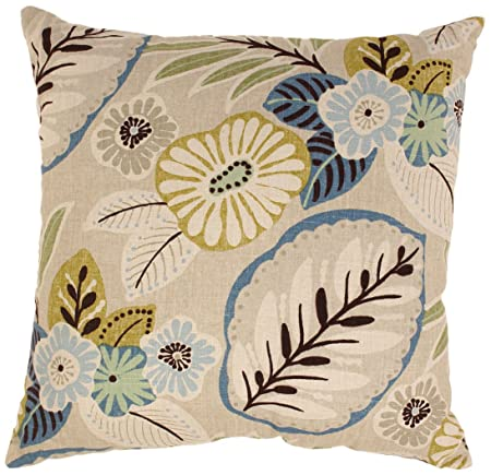 Pillow Perfect Beige Blue Tropical 24.5-Inch Floor Pillow
