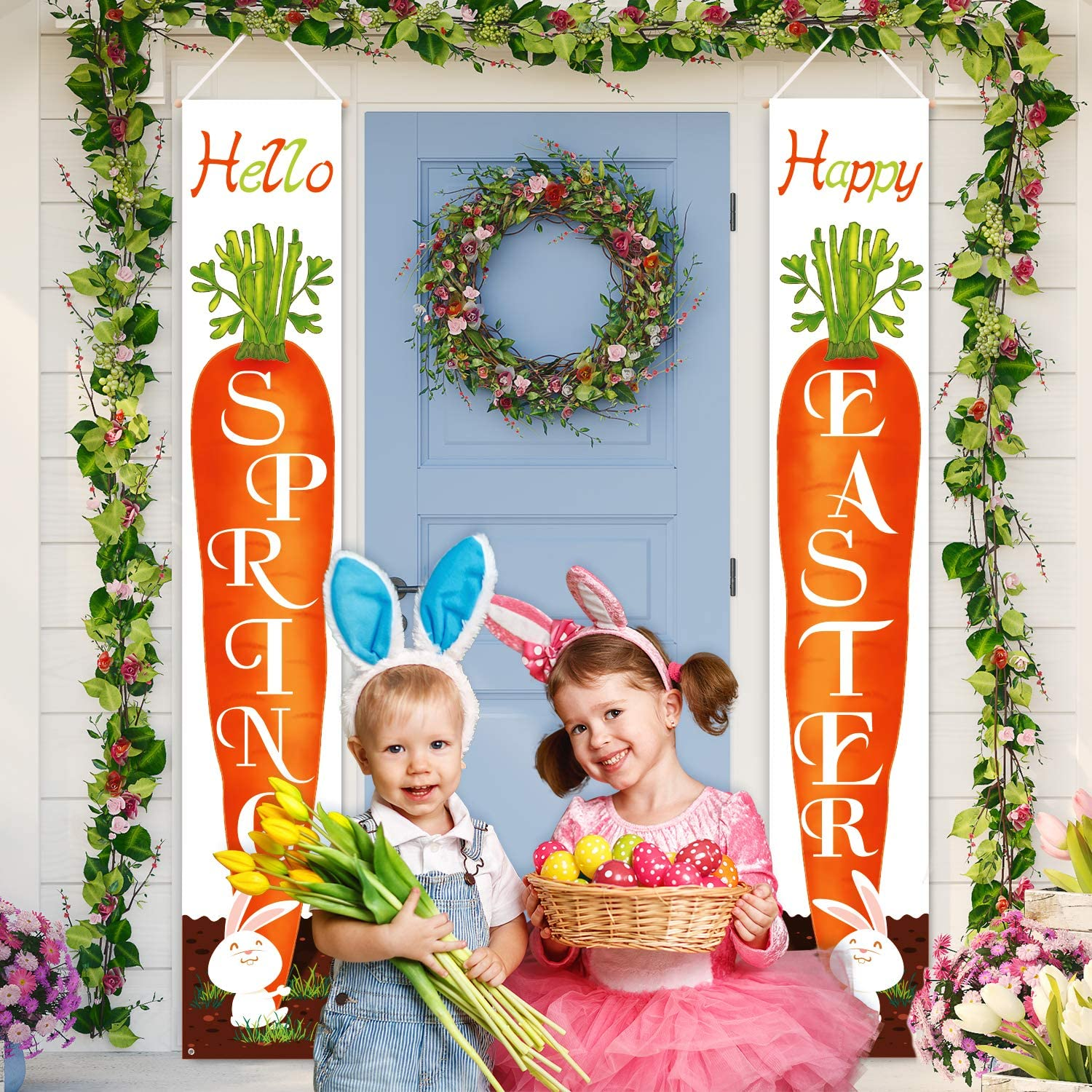 Whaline Easter Porch Sign, Happy Easter Hanging Banners, Bunny Carrot Hello Spring Door Hanger, for Home Garden Indoor Outdoor Porch Wall Decoration