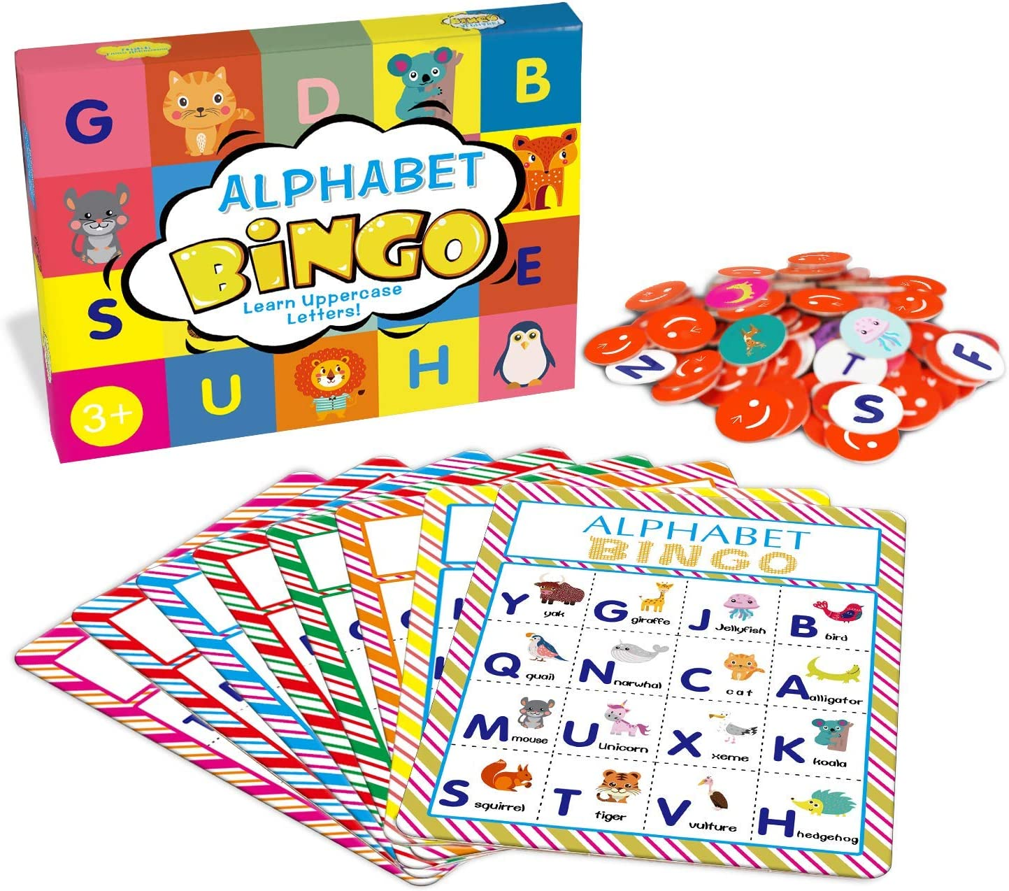 Deeplay Alphabet Bingo Game Card Board Matching Game Set, ABC Letters Animals Recognition Learning Bingo Paper Game Supplies for Kids, Preschoolers, Classroom, Kindergarten and Group Games
