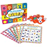 Deeplay Alphabet Bingo Game Card Board Matching Game Set, ABC Letters Animals Recognition Learning Bingo Paper Game Supplies