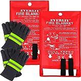 EVERLIT Fire Blanket Size XL 47''x47'' Fire Suppression Emergency Blanket w/Heat Resistant Gloves w/Reflective Strap (2…