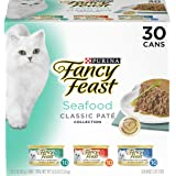 Purina Fancy Feast Grain Free Wet Cat Food Variety Pack Pate, Seafood Classic Pate Collection - (30) 3 oz. Cans