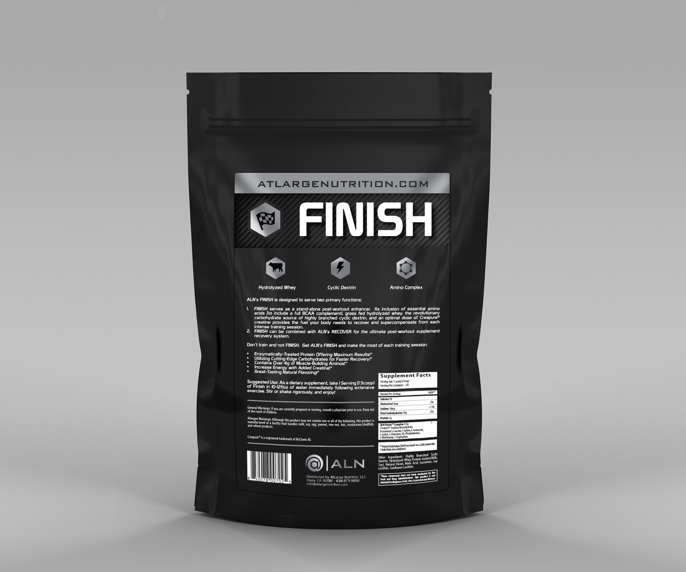 At Large Nutrition: FINISH Post-Workout Formulation, Great-tasting Citrus Lime flavor, Hydrolyzed Whey Protein, Creatine Monohydrate, Highly Branched Cyclic Dextrin, BCAA + EAA Complex, recovery