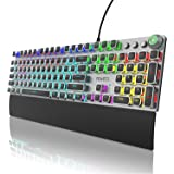 TEWELL Mechanical Gaming Keyboard, RGB LED Rainbow Gaming Backlit, 104 Anti-ghosting Keys, Quick-Response Quiet Black Switches, Multimedia Control for PC and Desktop Computer, with Removable Hand Rest