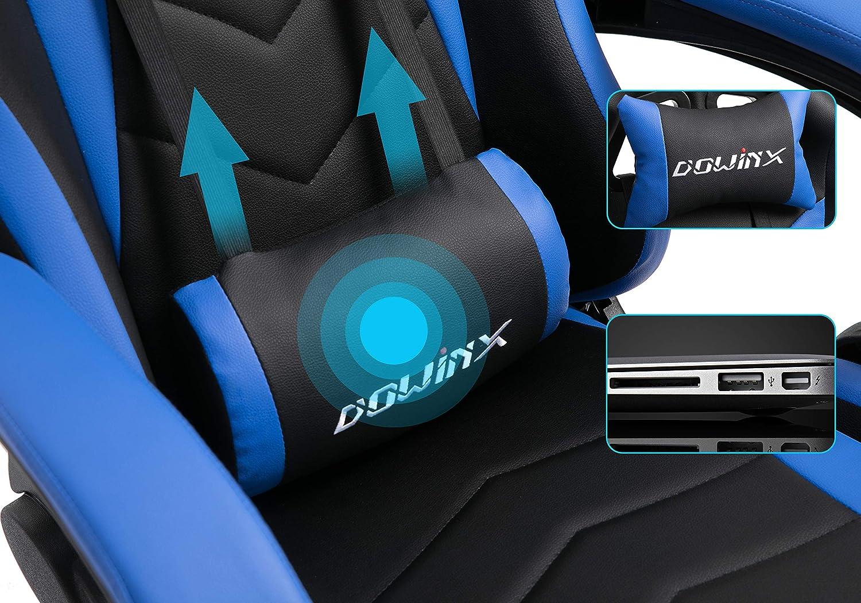 Dowinx Sedia Gaming Sedia Ergonomica da Corsa reclinabile con Massaggio Supporto Lombare Poltrona da Ufficio per Computer Sedie da Gioco in Pelle E-Sport con poggiapiedi a Scomparsa Nero/&Blu