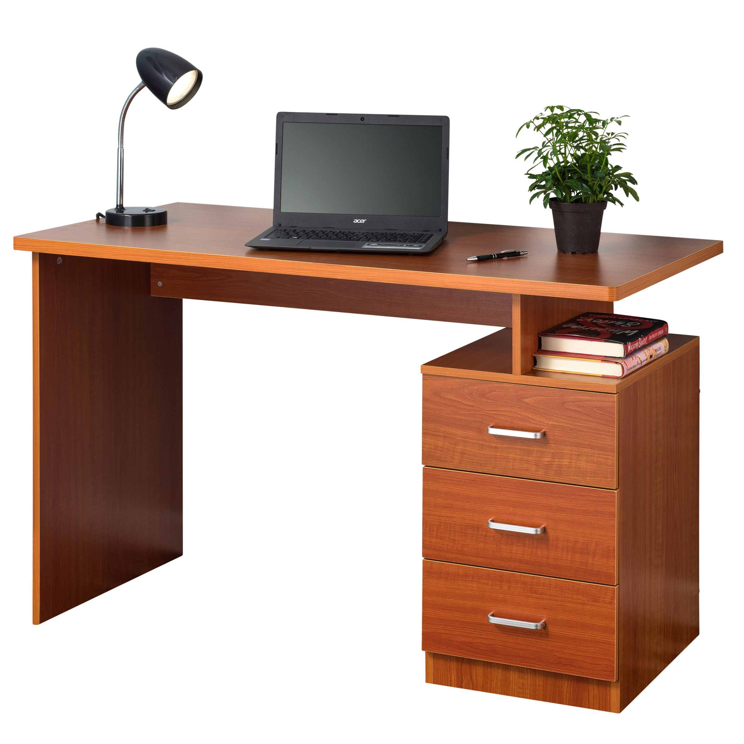 Fineboard Home Office Desk with 3 Drawers, Cherry Finish