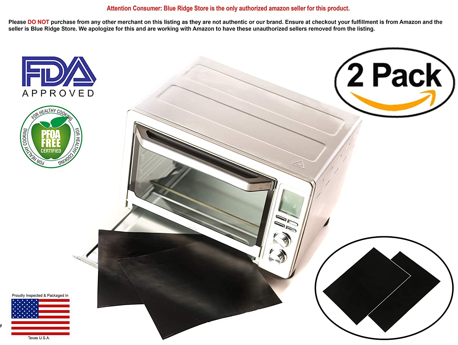 "TWO-PACK 100% Non-Stick 11"" Toaster Oven Liner. Finally, Prevent Spillovers, Gunk & Odors! Great Teflon Liner for Large and Small Toaster Ovens, Dishwasher Safe, Best Toaster Oven Accessories JB Warehouse Deals"