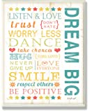 The Kids Room by Stupell Dream Big Typography Rectangle Wall Plaque, 11 x 0.5 x 15, Proudly Made in USA