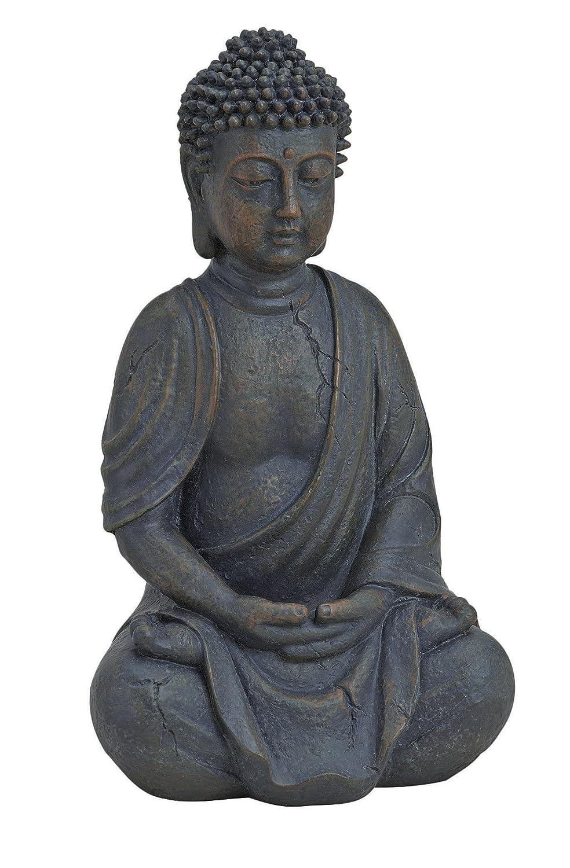 Geschenkestadl Figura de Buda Sentado orando 25/cm, marr/ón, Feng Shui