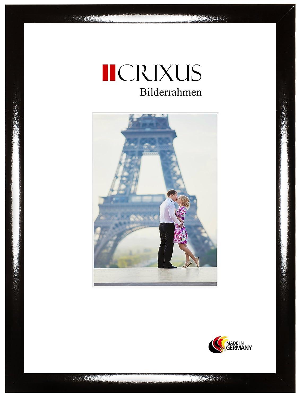 Crixus35 Cadre photo pour photos 70 cm x 10 cm, couleur: Noir Brillant, cadre en bois MDF fait sur mesure doté d'un verre synthétique antireflet et le panneau arrière de MDF, largeur du cadre: 35mm, dimension extérieure: 75,8 x 15,8 cm