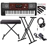 Korg PA700 61-Key Arranger Keyboard with Knox bench, Double X Stand, Pedal, Headphones and Book
