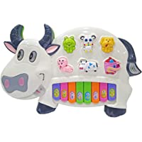 Popsugar Happy Cow Musical Piano with Music, Animal Sounds and Flashing Lights Toy for Kids, White